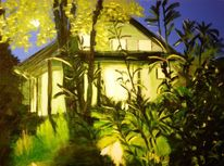 Nacht, Haus, Landschaft, Sommer