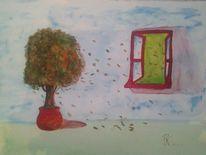 Baum, Landschaft, Fenster, Rot
