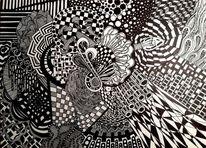 Zeichnung, Schwarz weiß, Gekritzel, Malerei