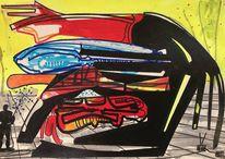 Futurismus, Technologie, Luft, Acrylmalerei