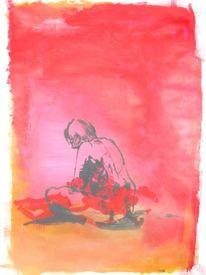 Menschen, Rosa, Frau, Malerei