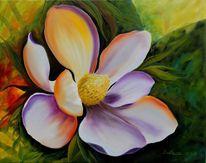 Natur, Magnolien, Ölmalerei, Blumen