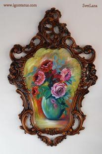 Ölmalerei, Stillleben, Rose, Vase