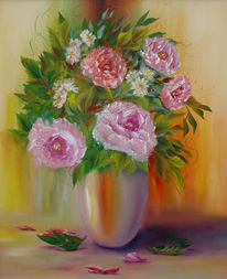Still life, Rose, Vase, Malerei