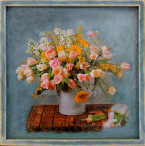Tablett, Präsentieren, Dekoration, Blumen