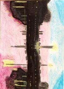 Rot, Traum, Berge, Pastellmalerei