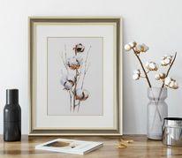 Blumen, Pflanzen, Baumwolle, Aquarell