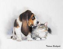 Hund, Katze, Kinderbuch illustration, Aquarell