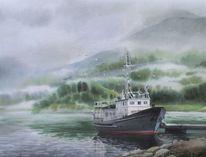 Natur, Nebel, Schiff, Landschaft