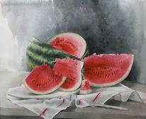 Stillleben, Wassermelone, Beere, Aquarell