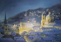 Prag, Nacht, Stadt, Weihnachten