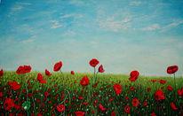 Blauer himmel, Mohnfeld in rot, Malerei, Mohnfeld