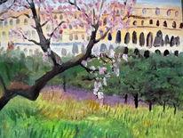 Blüte, Arena, Baum, Malerei