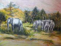 Elefant, Wald, Hügel, Mischtechnik
