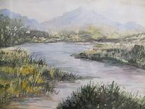 Fluss, Berge, Gras, Aquarell