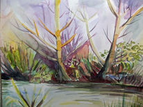 Fluss, Ufer, Baum, Aquarell