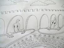 Mauer, Grüne männchen, Torbogen, Zeichnungen