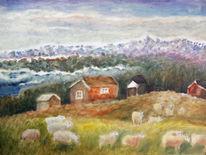 Norwegen, Berge, Schaf, Malerei