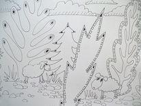Busch, Schaf, Baum, Zeichnungen