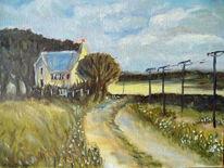 Haus, Weg, Wiese, Malerei