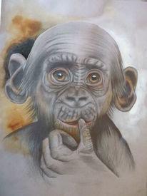 Zeichenkarton, Zeichnung, Chimpanse, Bleistiftzeichnung