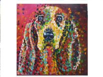 Popart, Beagle, Bunt, Hund