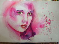 Gesicht, Frau, Pink, Karton