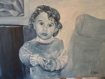 Gesicht, Kind, Portrait, Ölmalerei