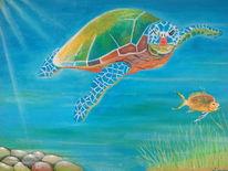 Fisch, Stein, Schildkröte, Wasser