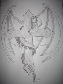 Fantasie, Drache, Kreuz, Schwarz weiß