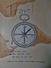 Weltkarte, Bunt, Kompass, Zeichnung