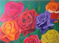 Blüte, Malerei, Rose, Bunt