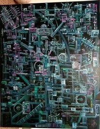Abstrakt, Ölmalerei, Komplexität, Fantasie