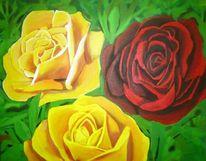 Rose, Rot, Malerei, Acrylmalerei