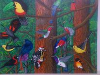 Natur, Wald, Vogel, Malerei