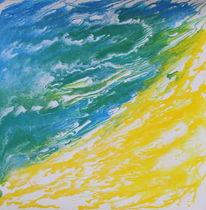 Gelb, Weiß, Acrylmalerei, Blau