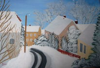 Malerei, Acrylmalerei, Straße dorf ort, Baum