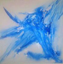 Blau, Abstrakt, Acrylmalerei, Weiß