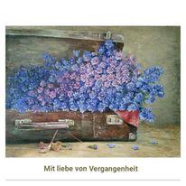 Vintage, Koffer, Ölmalerei, Blumen