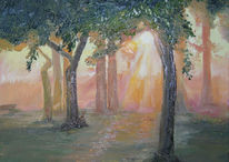 Ölmalerei morgen frühling, Sonne, Malerei, Grün