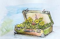 Frühling, Nostalgie, Koffer, Gelb