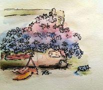 Koffer, Landschaft, Ocker, Sonne