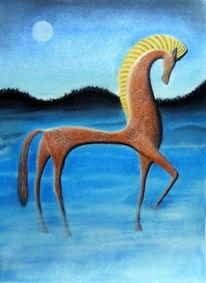 Pferde, Nacht, Keltisch, Malerei