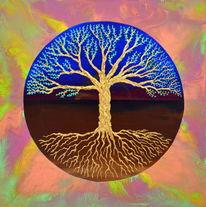Spirituelle kunst, Baum des lebens, Lebensbaum, Mischtechnik