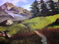 Ölmalerei, Landschaft, Fluss, Berge