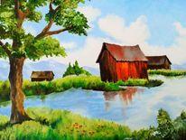 Berge, Wasser, Haus, Blumen