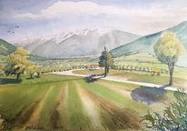 Wiese, Vinschgau, Berge, Aquarell