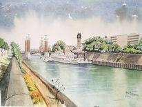 Innenhafen, Wasser, Licht, Aquarellmalerei