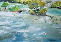 Fluss, Landschaft, Wasser, Aquarell