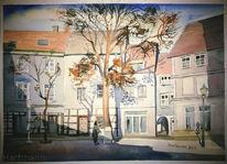 Altstadt, Kirche, Aquarellmalerei, Aquarell